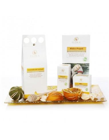 confezione regalo con prodotti a base di miele, erisimo e propoli
